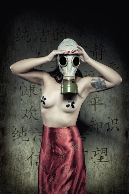 Girl with gas mask, and chinese skirt