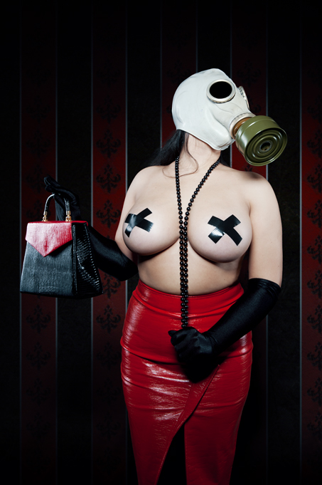 Girl with gas mask and a red skirt